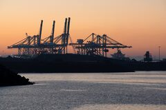Free Sines Container Port Terminal With Cranes At Sunset, In Portugal Royalty Free Stock Photo - 173770915