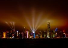 Sinfonia di indicatore luminoso al porto di Hong Kong Fotografie Stock