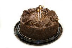 Sinful chocolate birthday cake. Picture of a delicious chocolate cake Royalty Free Stock Images