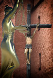 Sinful church conceptual idea with Lady of justice. Sinful church conceptual with Themis Royalty Free Stock Image