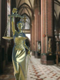 Sinful church conceptual idea with Lady of justice stock image
