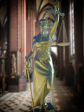 Sinful church conceptual idea with Lady of justice royalty free stock photo
