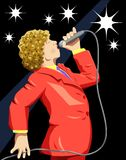 Sing. Vector illustration of a singer on stage with background as a separate layer Stock Photos