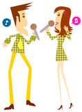 Sing. Couple sing in karaoke or concert vector illustration