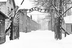 Sing Arbeit macht frei (Work liberates) in Auschwitz II Birkenau concentration camp. Located in the west of Krakow, Poland Stock Photo