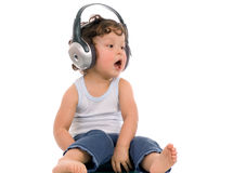 Sing baby. Sing baby with headphone,isolated on a white background royalty free stock photos