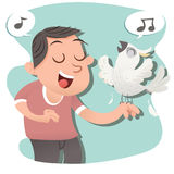Sing with bird. Cartoon happy man singing with his bird Royalty Free Stock Photos