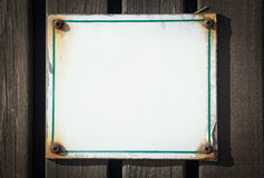 Sing board blank on wood Royalty Free Stock Photo