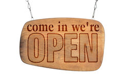 Sing come in we're open. Old wooden Sing come in we're open stock images