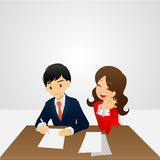 Sing contract. Vector cartoon Royalty Free Stock Images