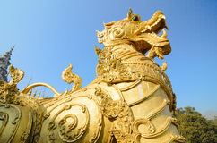 Sing ha statue ancient object in Thailand. Sing or lion in lambs Thai styled Royalty Free Stock Photo