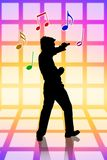 Sing loud at karaoke party. Silhoutte of a boy having fun and sing loud at karaoke party Royalty Free Stock Images