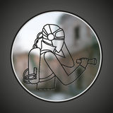 SIng of man in protective suit. Royalty Free Stock Photography