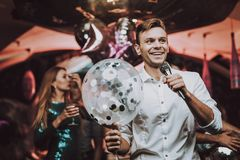 Sing Men Dance Club. White Shirt Young People. royalty free stock photos