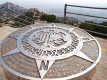 Sing in Montserrat. Sing in peak of Montserrat mountains, Spain stock images