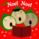 Sing noel. Children singing Christmas carols illustration red and green Royalty Free Stock Image