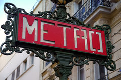 Sing of paris metro. Paris metro sign in france Royalty Free Stock Photos