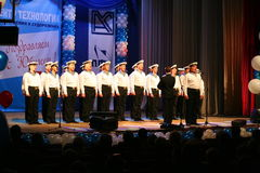 Sing of Russian soldiers, choir and soloists of song and dance ensemble of the Leningrad military district. Stock Photo