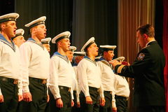 Sing of Russian soldiers, choir and soloists of song and dance ensemble of the Leningrad military district. Stock Photos