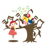 Sing A Song. A little girl on a tree listening to kill bill toucan birds singing Stock Photography