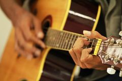 Sing song relaxing hobby happy. Guitar is a musical instrument for sing a song for relaxing in your free time stock photography