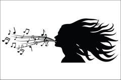 Sing woman silhouette Stock Photos