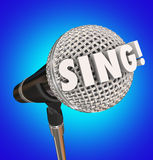 Sing Word Microphone Talent Musical Performance. Sing word in 3d letters on a microphone to illustrate a talent show or muscial vocal performance Royalty Free Stock Photos