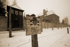 Sing at WWII prisoner camp Aushwitz saying you should stop or you will die Stock Photo