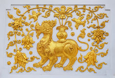 Singa in traditional Thai style molding art. Royalty Free Stock Image