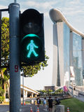 SINGAPORE-03 2017年6月:行人交通光在新加坡 免版税库存照片