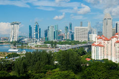 Singapore. A shot of Singapore skyline including the Flyer and new integrated resort at Marina Bay stock image