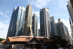 Singapore. Downtown Singapore Skyscrapers at business district. Telok Ayer Market in front Royalty Free Stock Images