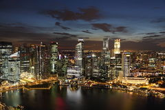 Singapore. Downtown Skyline Singaporeat twilight. Full view of business district Royalty Free Stock Image