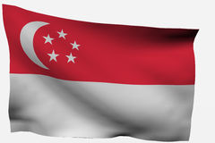 Singapore 3d flag. Isolated on white background Stock Image