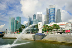 Singapore. Business district skyline and Merlion, Singapore Stock Photo