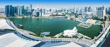 Singapore aerial view. SINGAPORE - OCTOBER 18, 2014: Singapore aerial view from Marina Bay Sands Skypark Royalty Free Stock Photography