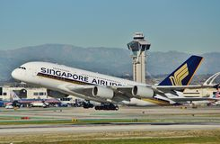 Singapore Airbus A380 departs Los Angeles Stock Photos