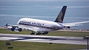 Singapore Airline A380. Passenger Aircraft Landing on Hong Kong International Airport HKIA Stock Photos