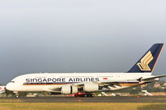 Singapore Airlines Airbus A380 on the runway. Singapore Airlines Airbus A380 on the runway in Sydney, Australia Royalty Free Stock Images