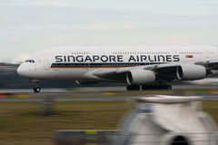 Singapore Airlines Airbus A380 on runway. stock images