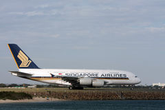 Singapore Airlines Airbus A380 on runway. 4 November 2010: Singapore Airlines grounds its fleet of Airbus A380 aircraft following an emergency landing of a Royalty Free Stock Photography