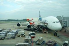 Singapore Airlines Airbus A380-800 en el aeropuerto de Singapur Changi Foto de archivo