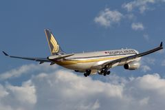 Singapore Airlines Airbus A330-343 9V-STA taking off from Adelaide Airport royalty free stock photography