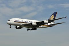 Singapore Airlines Super Jumbo. Singapore Airlines Airbus A380 about to land in Frankfurt. Singapore is one of the Super Jumbo early adopters and currently Royalty Free Stock Photography