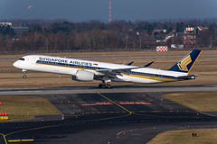 Singapore Airlines flygbuss A350 Arkivbild