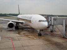 Singapore Airlines plane stock image