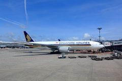Singapore Airlines plane Royalty Free Stock Photography