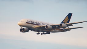 Singapore Airlines Superjumbo approaching stock video footage