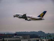 Singapore airlines a380 take off royalty free stock image