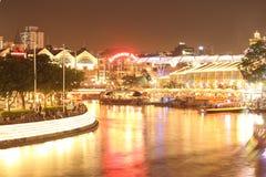 Singapore alla notte Immagini Stock Libere da Diritti